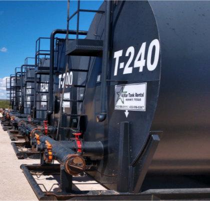 group of steel bilevel tanks